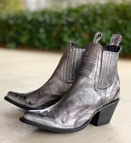 Yippee by Old Gringo Gaucho Stitch Metallic Silver Booties YBL290-1 Picture