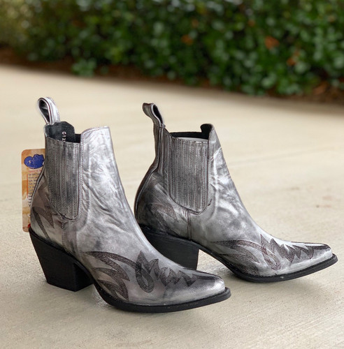 Yippee by Old Gringo Gaucho Stitch Metallic Silver Booties YBL290-1 Image