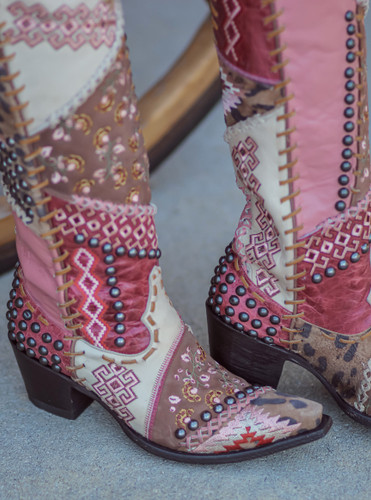 Double D by Old Gringo Blow Out Cream Pink Boots DDL050-2 Detail