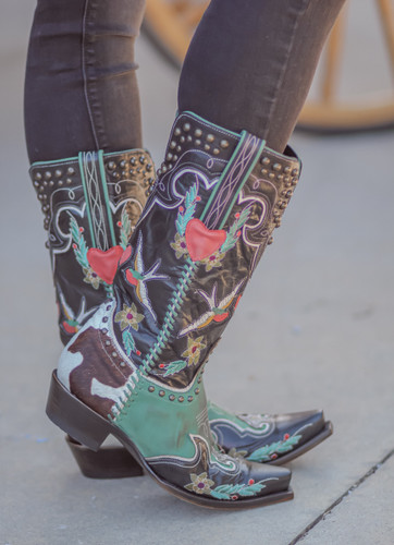 Double D by Old Gringo Midnight Cowboy Turquoise Black Boots DDL058-1 Toe