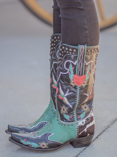 Double D by Old Gringo Midnight Cowboy Turquoise Black Boots DDL058-1 Photo