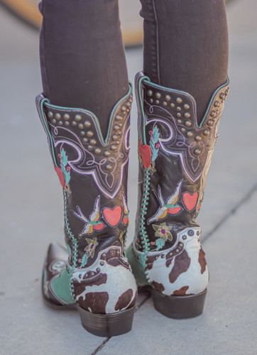 Double D by Old Gringo Midnight Cowboy Turquoise Black Boots DDL058-1 Heel