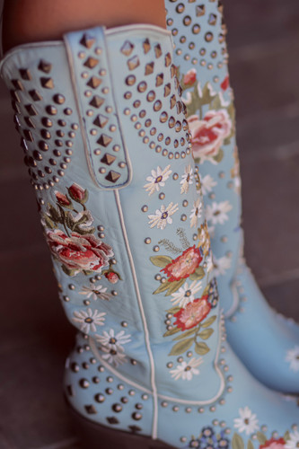 Double D by Old Gringo Backwoods Barbie Pastel Blue DDL063-1 Detail