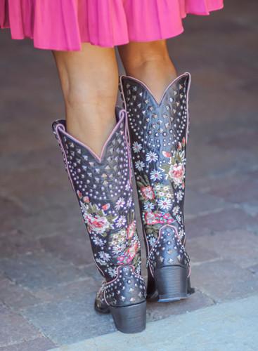 Double D by Old Gringo Backwoods Barbie Black Boots DDL063-2 Heel