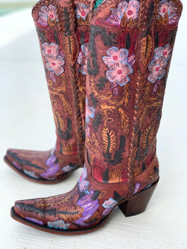 Corral Honey Tooled Tall Top Boots A4003 Picture
