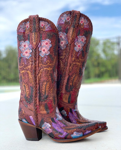 Corral Honey Tooled Tall Top Boots A4003 Photo