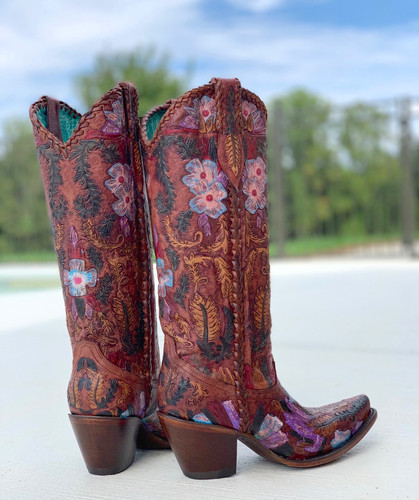 Corral Honey Tooled Tall Top Boots A4003 Heel