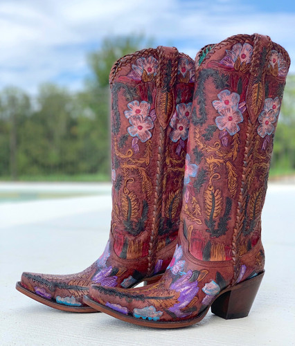 Corral Honey Tooled Tall Top Boots A4003 Image