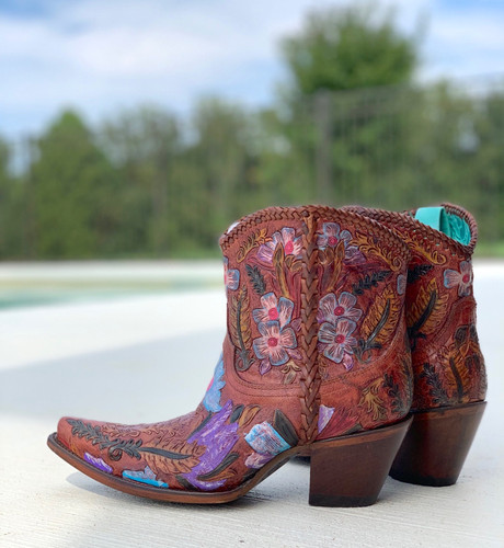 Corral Honey Tooled Ankle Boot A4004 Heel