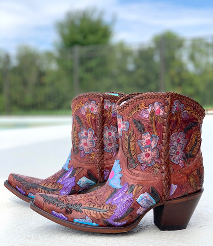 Corral Honey Tooled Ankle Boot A4004 Image