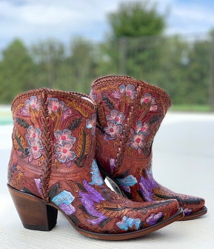 Corral Honey Tooled Ankle Boot A4004 Picture