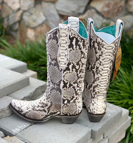 Corral Natural Python Boots A3798 Heel