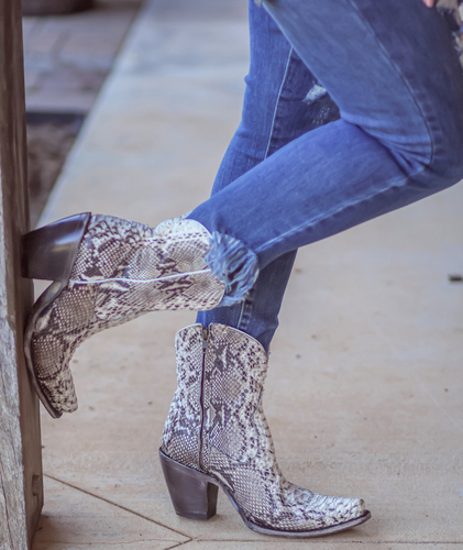 Corral Natural Python Zipper Ankle Boot A3791 Picture