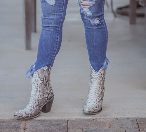 Corral Natural Python Zipper Ankle Boot A3791 Photo