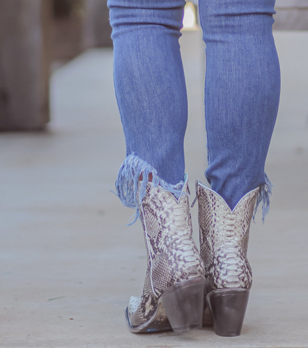 Corral Natural Python Zipper Ankle Boot A3791 Heel