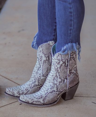 Corral Natural Python Zipper Ankle Boot A3791 Image