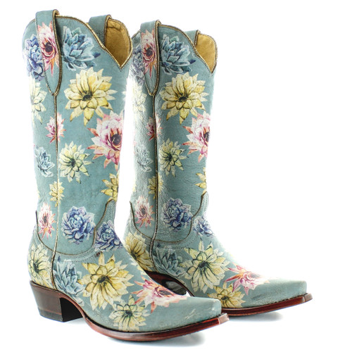 Yippee by Old Gringo Saguaro Flower Crackled Blue YL407-1 Picture