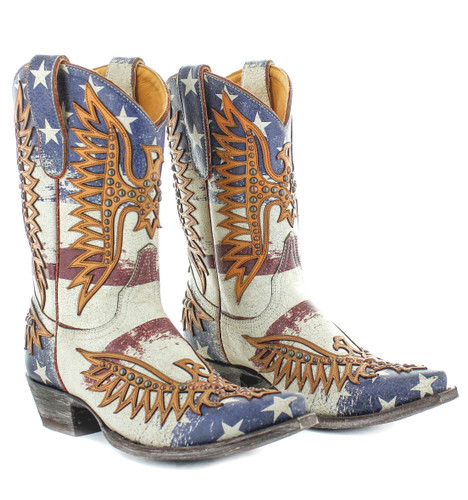"Old Gringo Fairview Crackled Taupe Blue 10"" Boots L3290-1 Picture"