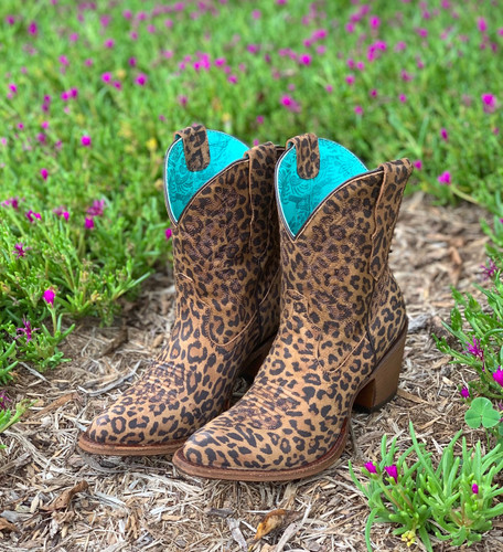 Corral Leopard Print Embroidery Ankle Boot E1650 Image