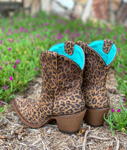 Corral Leopard Print Embroidery Ankle Boot E1650 Heel
