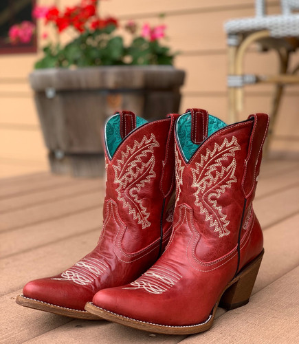 Corral Red Embroidery Ankle Boot E1424 Photo