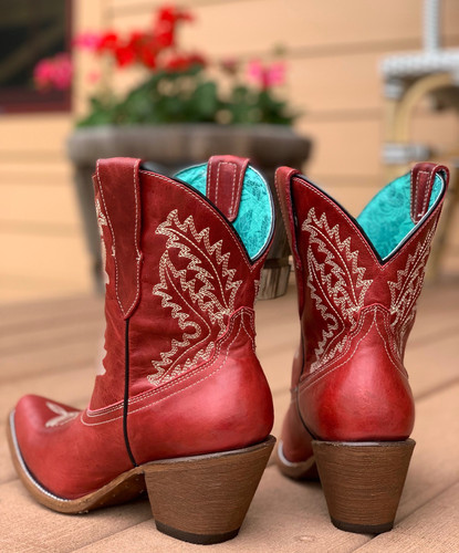 Corral Red Embroidery Ankle Boot E1424 Heel