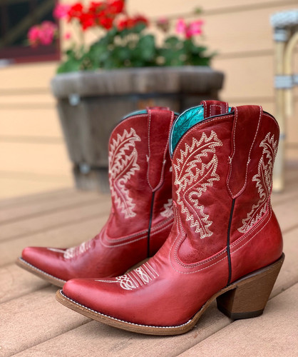 Corral Red Embroidery Ankle Boot E1424 Picture