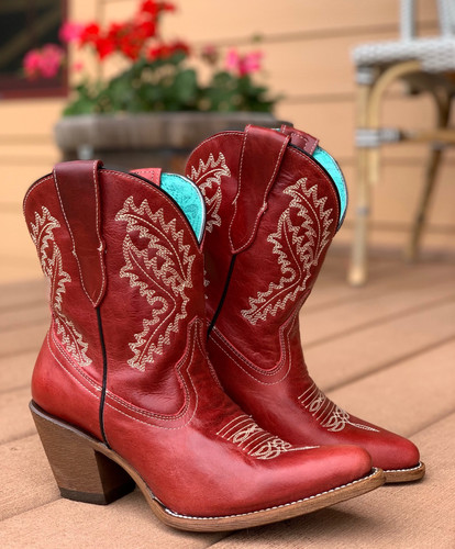 Corral Red Embroidery Ankle Boot E1424 Image