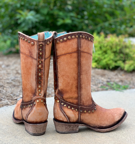 Corral Distressed Honey Zipper and Studs Boots C3674 Heel
