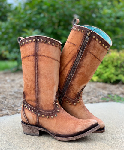 Corral Distressed Honey Zipper and Studs Boots C3674 Picture