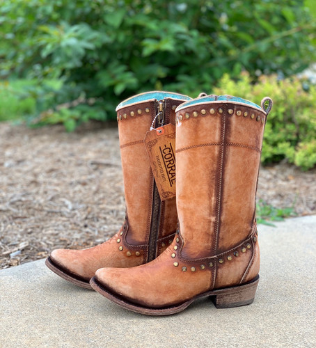 Corral Distressed Honey Zipper and Studs Boots C3674 Photo