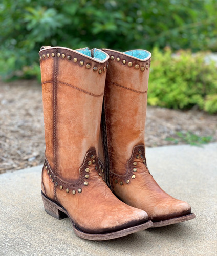 Corral Distressed Honey Zipper and Studs Boots C3674 Image