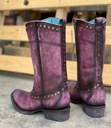 Corral Distressed Wine Zipper and Studs Boots C3675 Photo