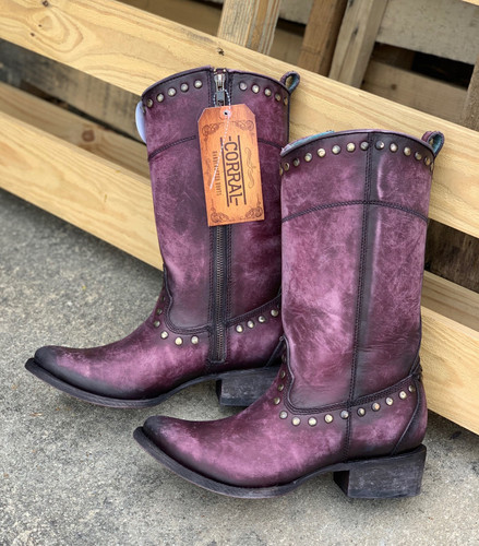 Corral Distressed Wine Zipper and Studs Boots C3675 Image