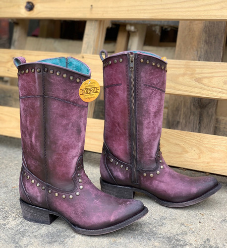Corral Distressed Wine Zipper and Studs Boots C3675 Picture