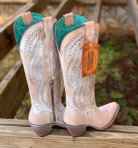 Corral Rose Embroidery Tall Top Boots E1379 Heel