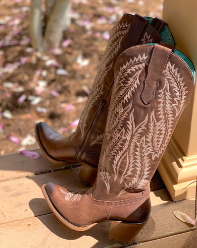 Corral Brown Embroidery Tall Top Boots E1401 Image