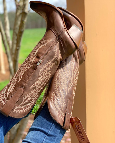Corral Brown Embroidery Tall Top Boots E1401 Zipper