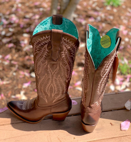 Corral Brown Embroidery Tall Top Boots E1401 Heel
