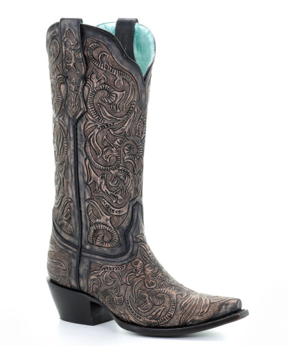Corral Black Hand Tooled Boots G1471 Picture