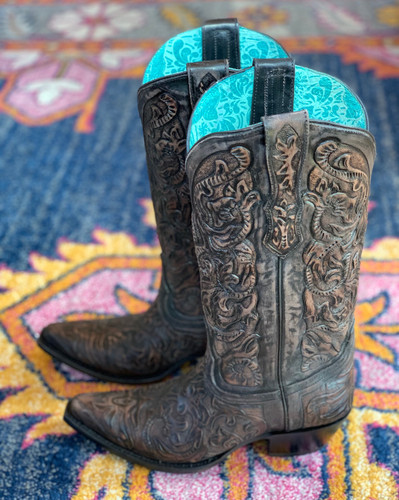 Corral Black Hand Tooled Boots G1471 Photo