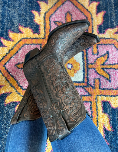 Corral Black Hand Tooled Boots G1471 Toe