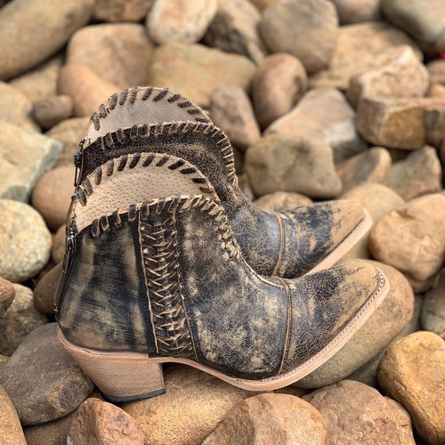 Corral Black Woven Ankle Boots Q5110 Image