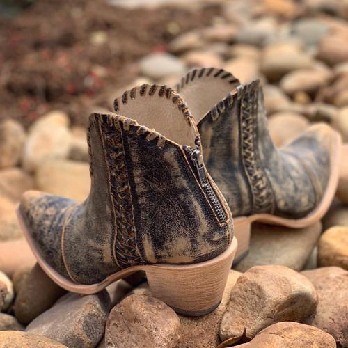 Corral Black Woven Ankle Boots Q5110 Zipper