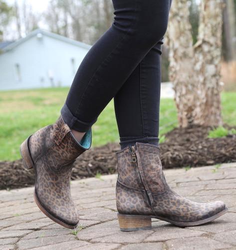 Corral Leopard Print Zipper Ankle Boot C3627 Toe