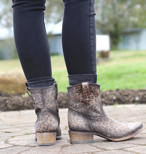 Corral Leopard Print Zipper Ankle Boot C3627 Heel