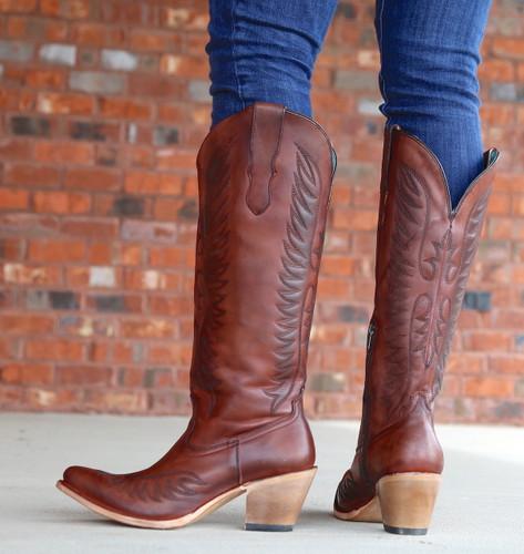 Corral Cognac Embroidery Boots E1570 Heel