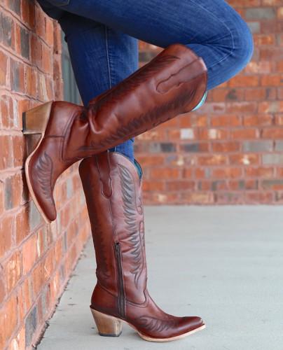 Corral Cognac Embroidery Boots E1570 Toe
