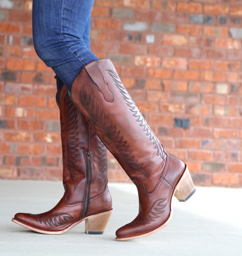Corral Cognac Embroidery Boots E1570 Zipper