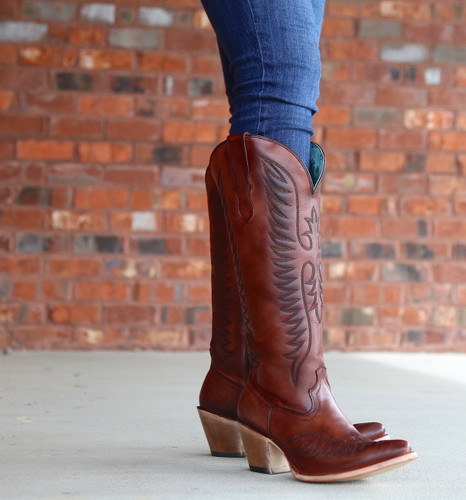 Corral Cognac Embroidery Boots E1570 Front